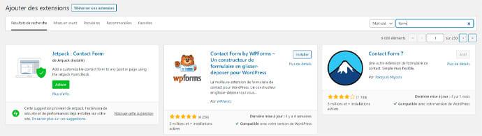 plugin formulaire contact WordPress