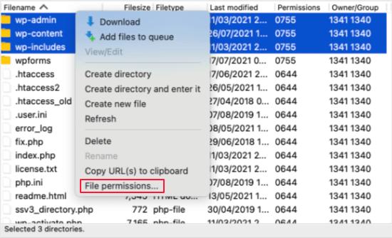 Cliquez avec le bouton droit pour sélectionner les autorisations de fichier