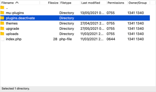 Le dossier est maintenant nommé plugins.deactivated