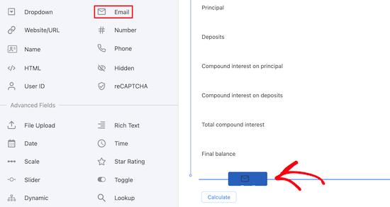 Ajouter un champ e-mail à la calculatrice