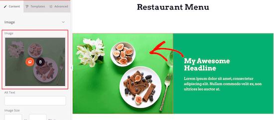Ajouter une image d'élément de menu