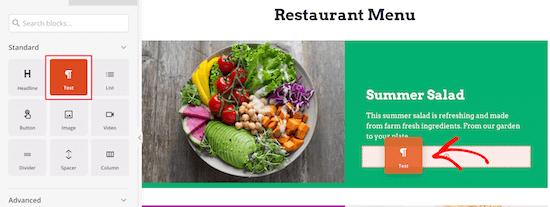 Ajouter le prix d'un élément de menu