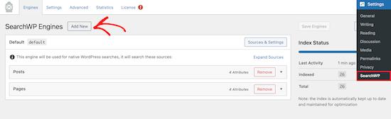 Ajouter un nouveau moteur de recherche SearchWP