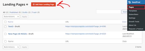 Ajouter une nouvelle page de destination SeedProd