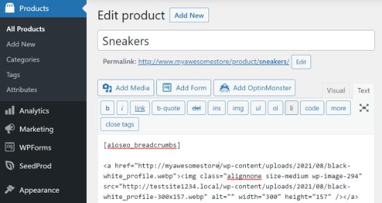 Ajouter un shortcode dans la page du produit