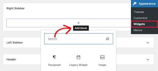 Add new widget block