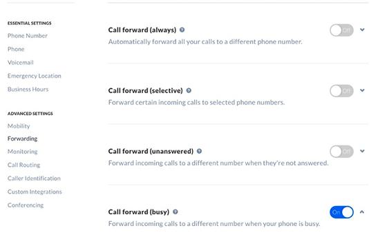 Options de renvoi d'appel supplémentaires dans Nextiva