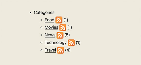 Liste des catégories avec icône d'abonnement aux flux RSS