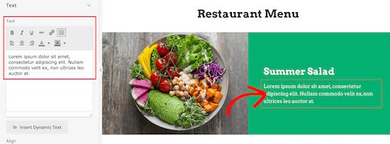 Modifier le texte de l'élément de menu