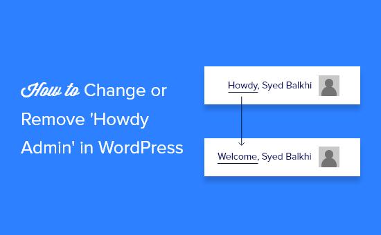 change or remove howdy admin in wordpress og