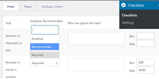 Modifier les paramètres des listes de contrôle PublishPress