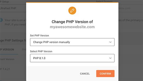 Modification de la version PHP dans SiteGround