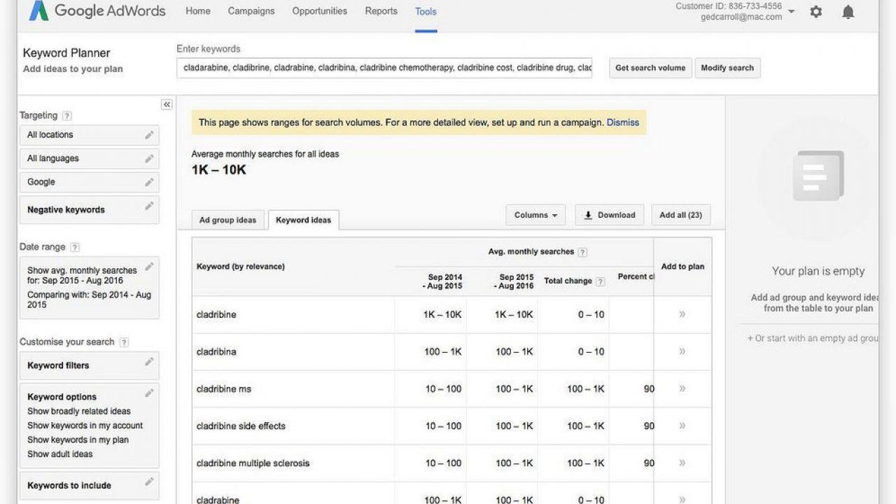choisissez google adwords keyword tool et adwords keyword tool y a t il des changements