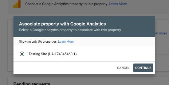 Choisir la propriété Analytics associée