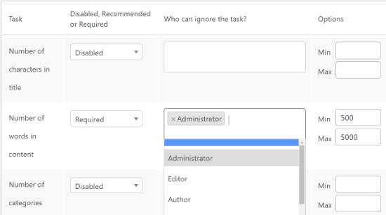 Choisissez les rôles d'utilisateur à exclure