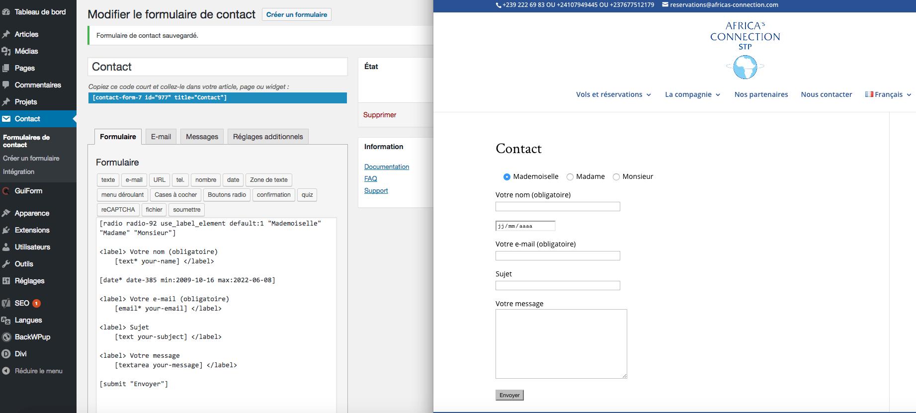 comment creer un formulaire de contact avec wordpress
