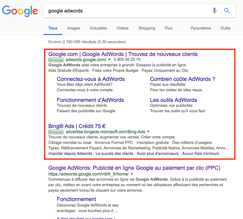 comment ecrire une copie de leffet publicitaire google adwords annonces sur bing