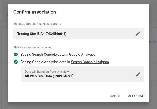 Confirmer l'association entre Analytics et Search Console