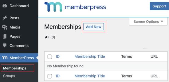Accédez à la page des adhésions MemberPress