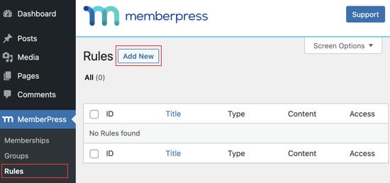 Visitez la page des règles de MemberPress