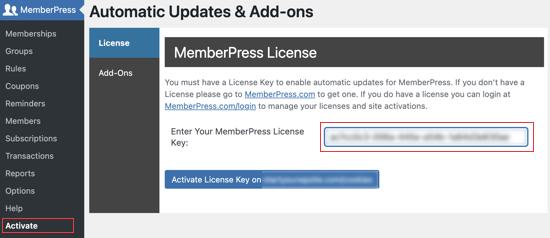 Entrez votre clé de licence MemberPress