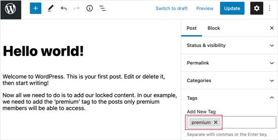 Ajouter la balise Premium aux publications verrouillées