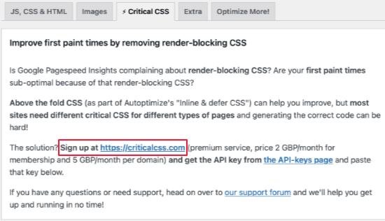 Inscrivez-vous pour un compte CSS critique
