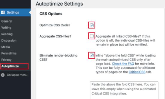 Faites défiler jusqu'à Options CSS
