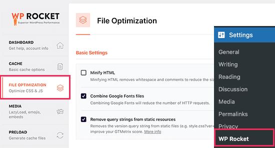 Basculer vers l'onglet Optimisation des fichiers