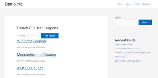 Exemple de formulaire de recherche de types de publication personnalisés