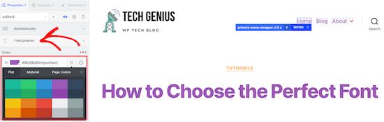 Personnaliser la couleur du menu CSS Hero