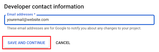 Enter developer contact information