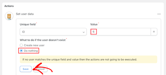 Enter user ID and select do nothing
