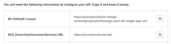Copy entity ID and ACS URL