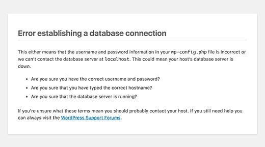 Erreur lors de l'établissement de la connexion à la base de données