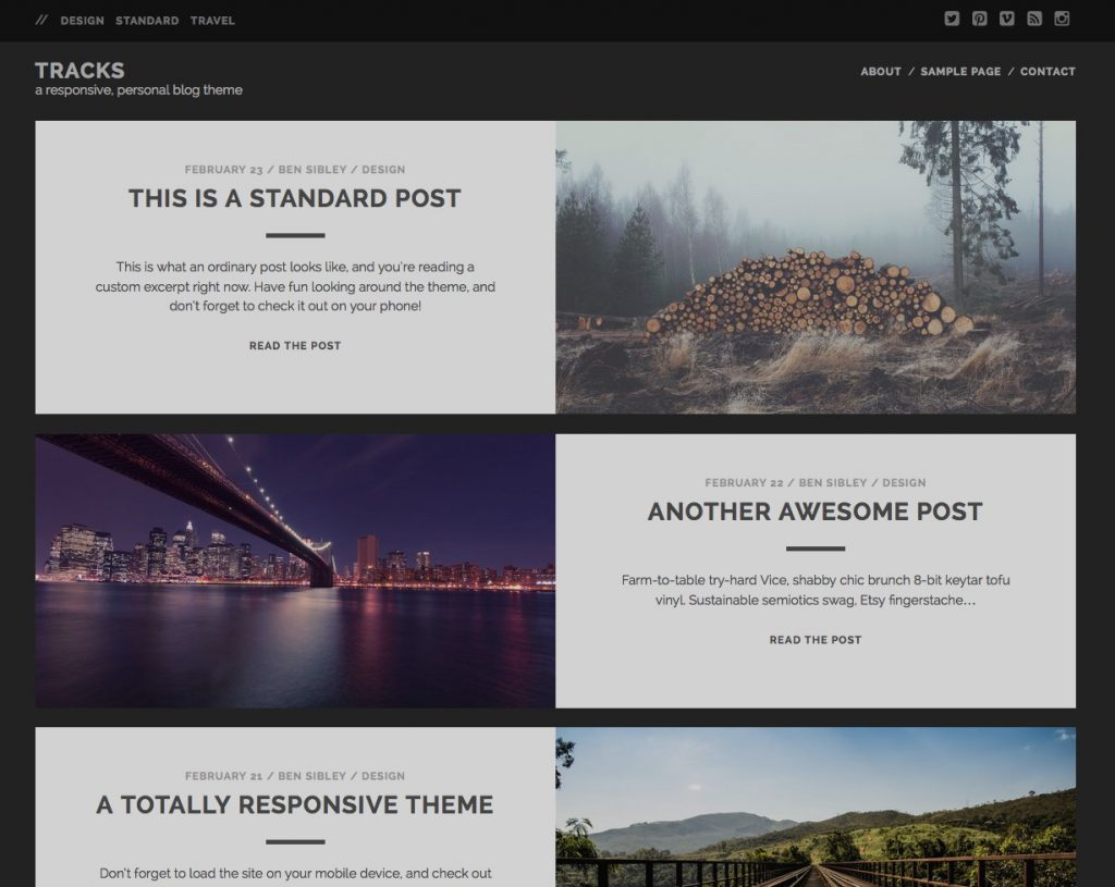 free wordpress themes for personal bloggers tracks