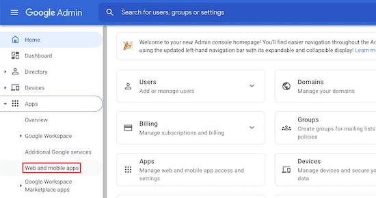 Google Admin console web and mobile apps