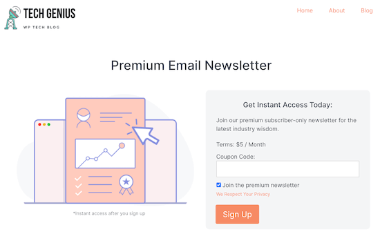 Home page email newsletter example