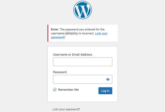 Problème de mot de passe incorrect