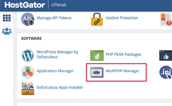 Lancement du gestionnaire MultiPHP dans HostGator