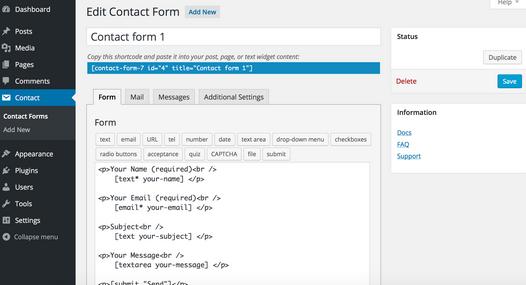 outils jusqua votre page wordpress avec des types de courrier personnalises