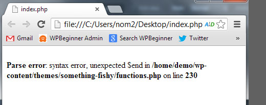 Erreurs de syntaxe PHP