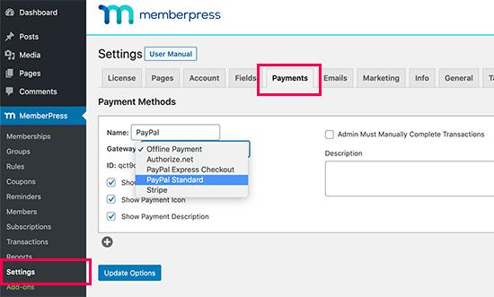 Setup MemberPress payments