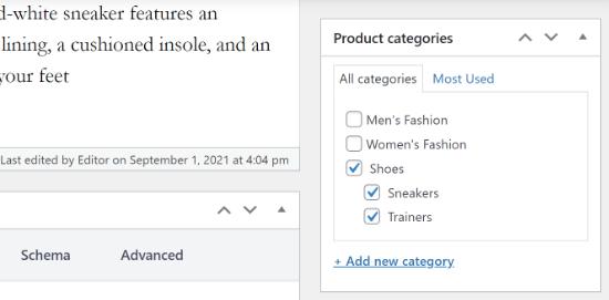 Le produit a plusieurs catégories