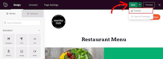 Publier le menu en direct