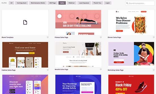 Modèles de page de vente