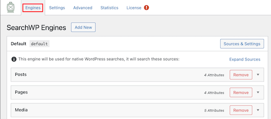 Paramètres des moteurs SearchWP