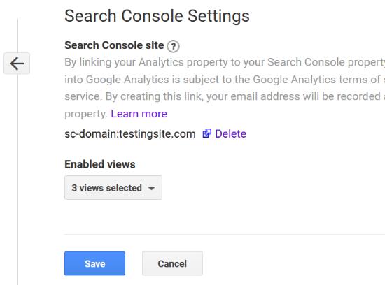 Voir la Search Console connectée avec Analytics