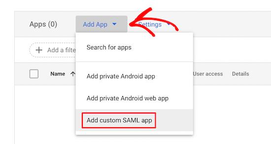 Add custom SAML app