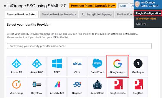 Select identity provider